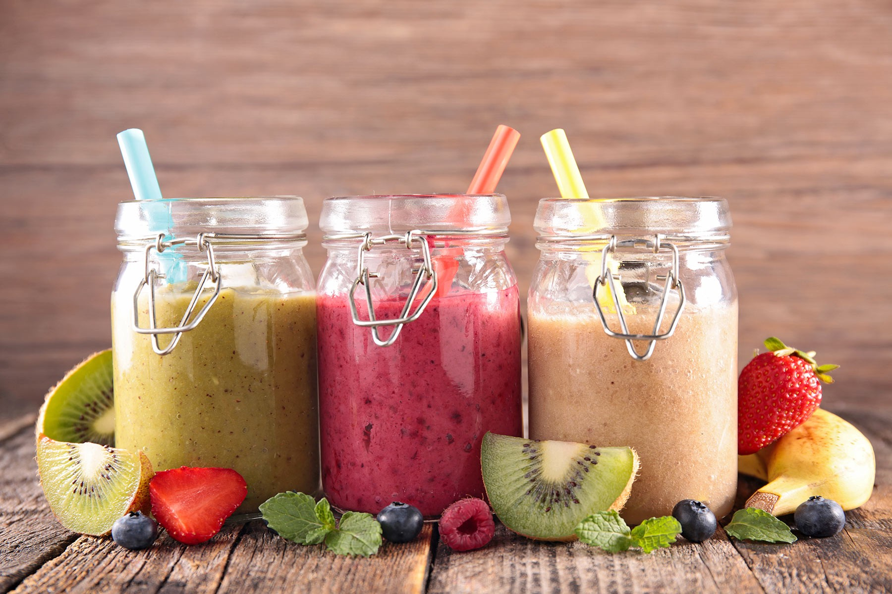 Smoothies and fruits