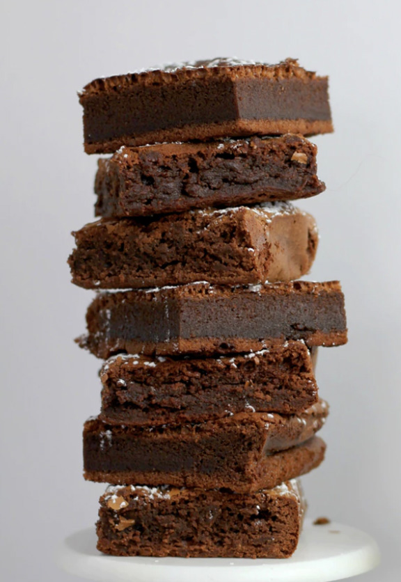 A stack of fudge brownies