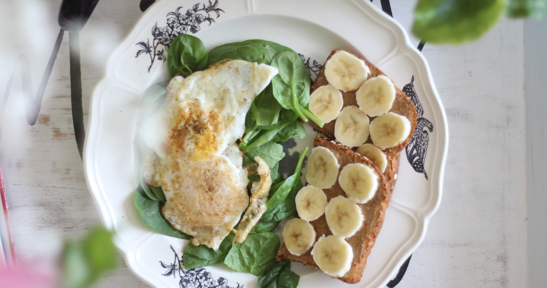 Healthy Breakfast of eggs spinach, bananas, and whole-wheat toast - Unsplash: Naomi Irons