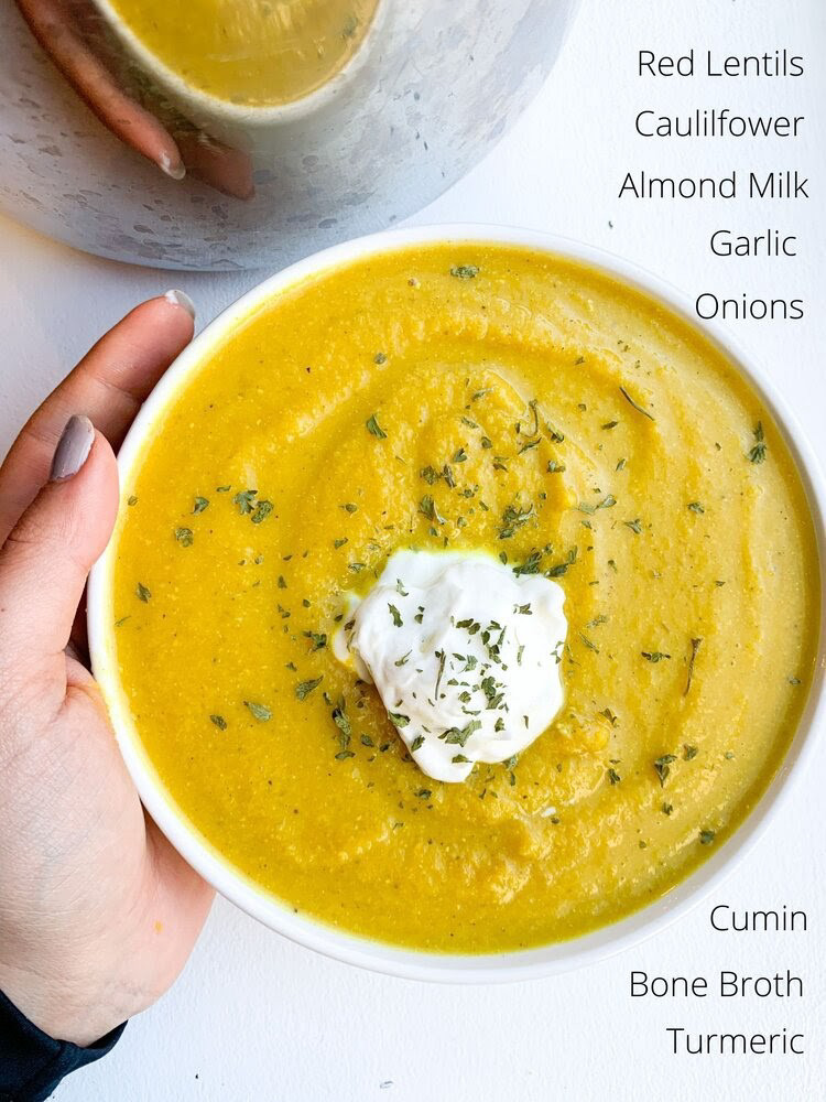 Creamy Cauliflower and Lentil Soup ingredients