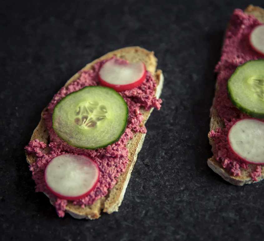 Toast with beets cucumbers and radish