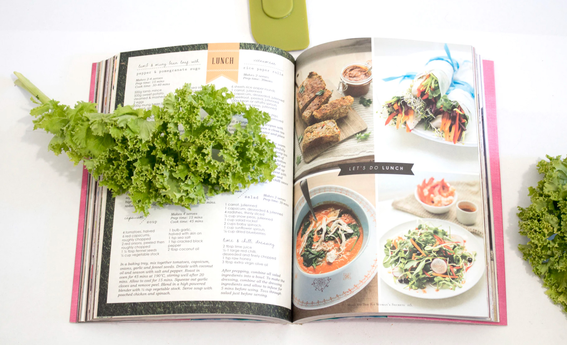 Open recipe book with foods to make