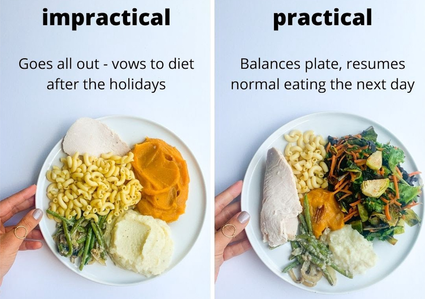 An impractical meal vs. a practical meal