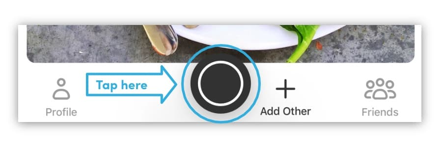 Quickly capture a meal by tapping the camera icon in the center bottom of the timeline view